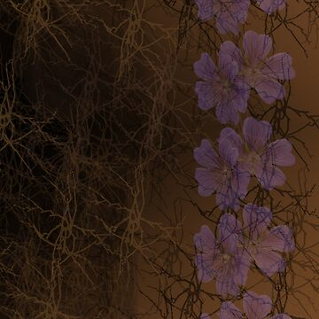 Mauve Lilies on Black and Brown Abstract by JMarielle