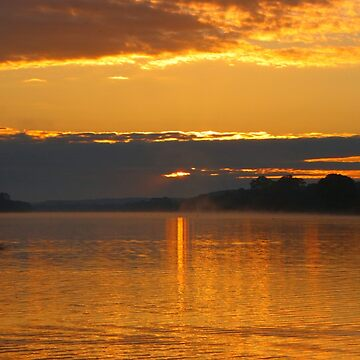 Golden sunrise over river by FranWest