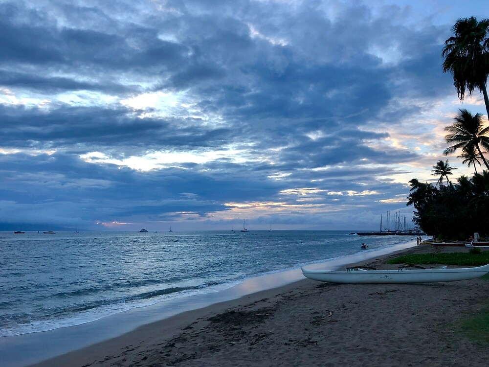 Lahaina Beach Sunset Beach and Canoe by EricaRobbin