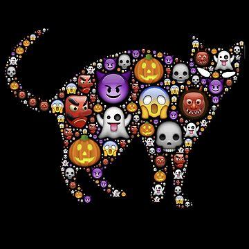 Cat Emoji T-Shirt for Halloween Stickers for Cat Lovers by nfarishta