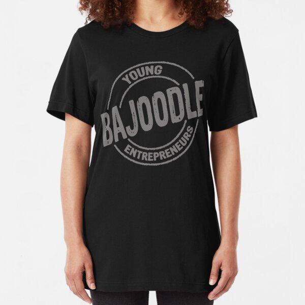 bajoodle logo grey on dark background Slim Fit T-Shirt