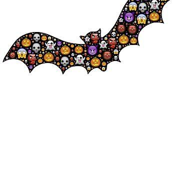 Bat Emoji T-Shirt, Sticker and Trick-or-Treat Bag for Halloween by nfarishta