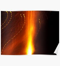 Light waves dancing around the flames of a fire-cracker Poster