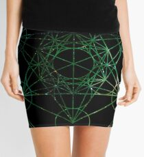 Metatron's Hidden Eye [Green Stars] [Circled] Mini Skirt