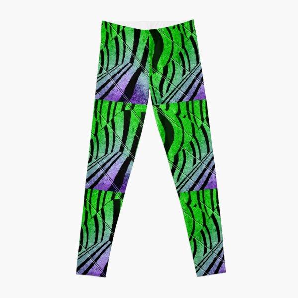 Abstract Neon Zebra Leggings