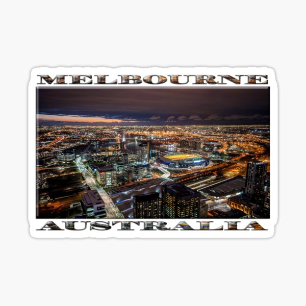 Melbourne at Night (widescreen poster on white) Sticker