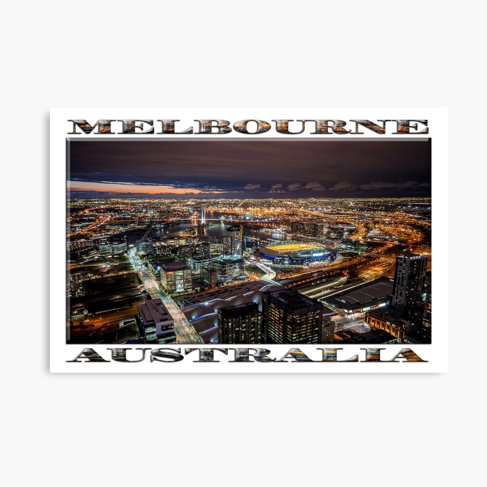 Melbourne at Night (widescreen poster on white) Canvas Print