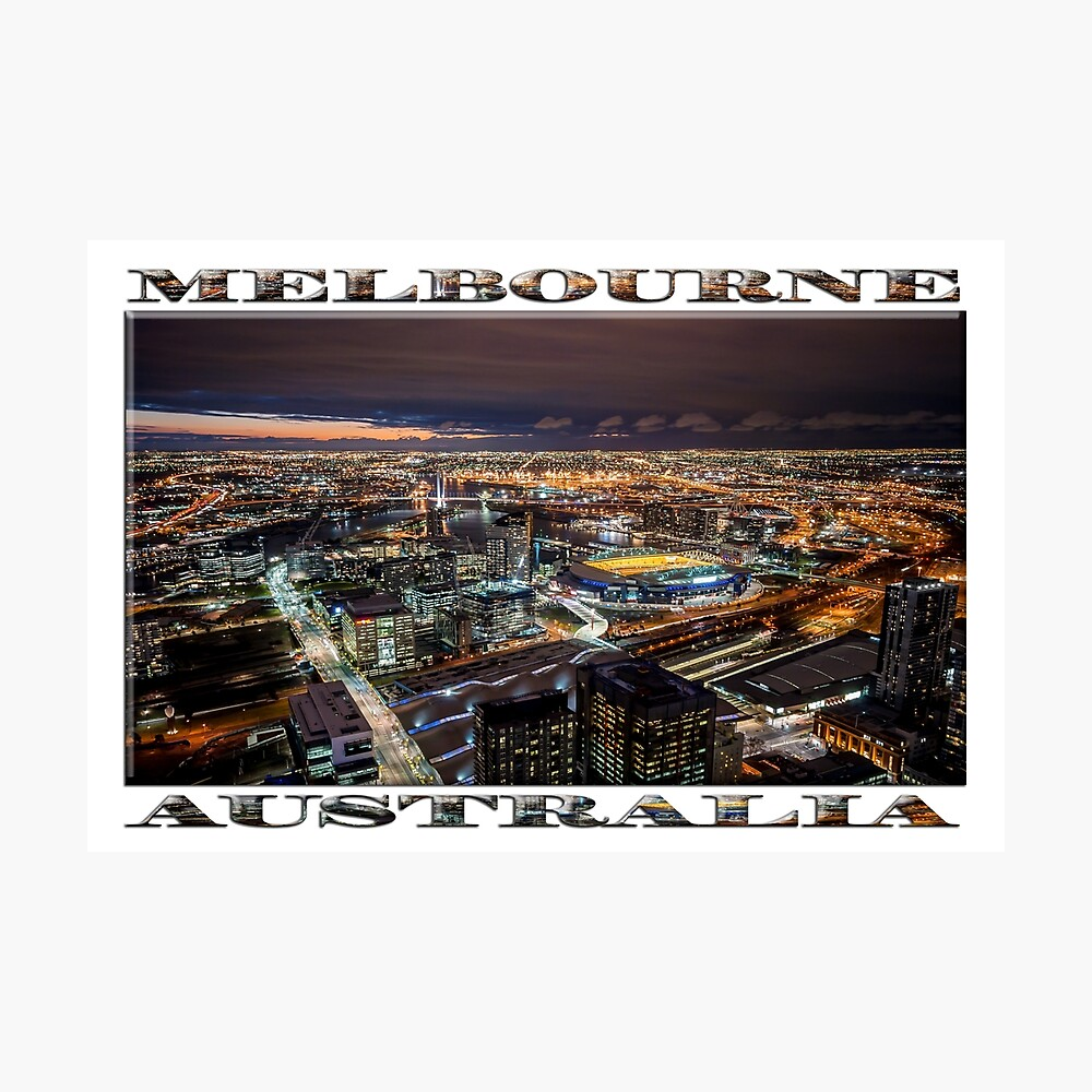 Melbourne at Night (widescreen poster on white) Photographic Print