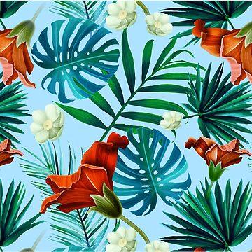 Hawaiian leaves flowers jungle Hawaii Tropical Pattern  by decentdesigns