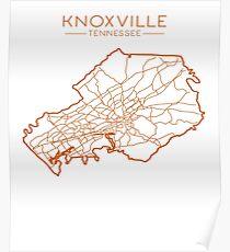 Knoxville Tennessee Modern und Retro-minimalistischen Stadtplan Poster