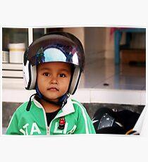 Crash Helmet, Ubud, Bali Poster