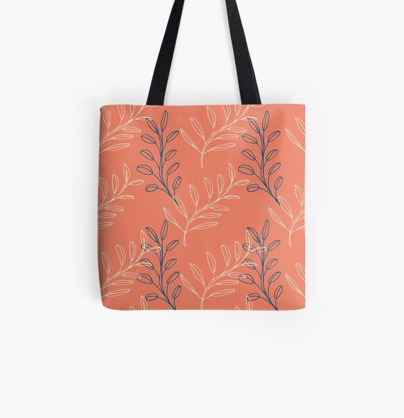Homeland Flora Floating Leaves in Tangerine All Over Print Tote Bag