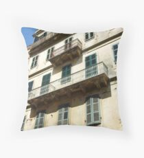 Shutters and Balcony's Throw Pillow