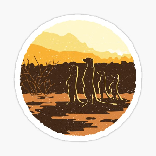 Meerkat Sunset Desert Scene Sticker