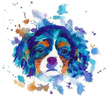 The cavalier king Charles Spaniel in blue by AgniArt