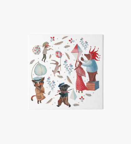 Lantern parade - Snow Art Board Print