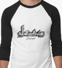 Washington graphic scribble skyline  Men's Baseball ¾ T-Shirt