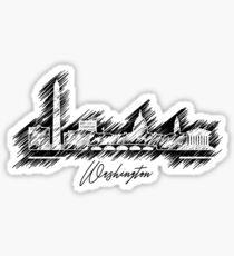 Grafische Gekritzelskyline Washingtons Sticker