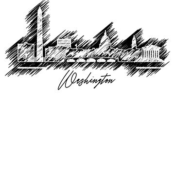Washington graphic scribble skyline  by DimDom