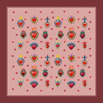 Mexican Sacred Hearts - Mellow Rose by Colette-vd-Wal
