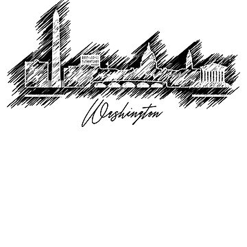 Washington graphic scribble skyline-black and white by DimDom