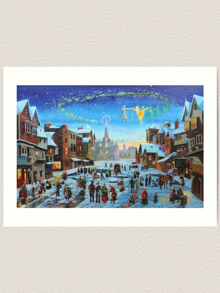 Alternate view of A Christmas Carol Scrooge and the ghost of Christmas past Art Print
