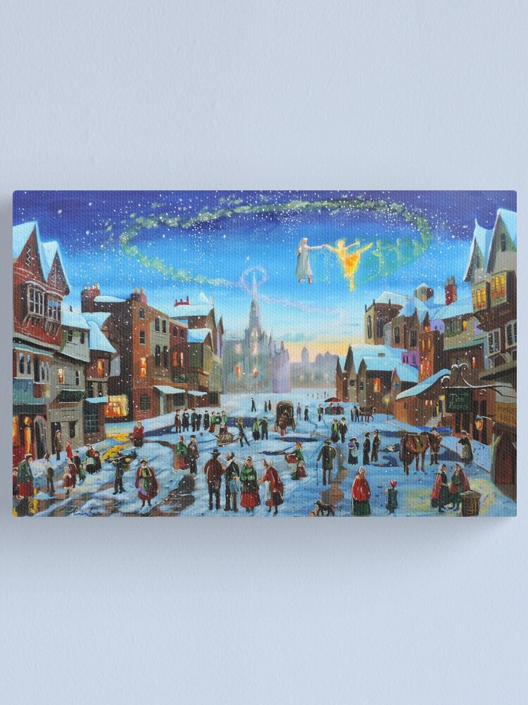 Alternate view of A Christmas Carol Scrooge and the ghost of Christmas past Canvas Print