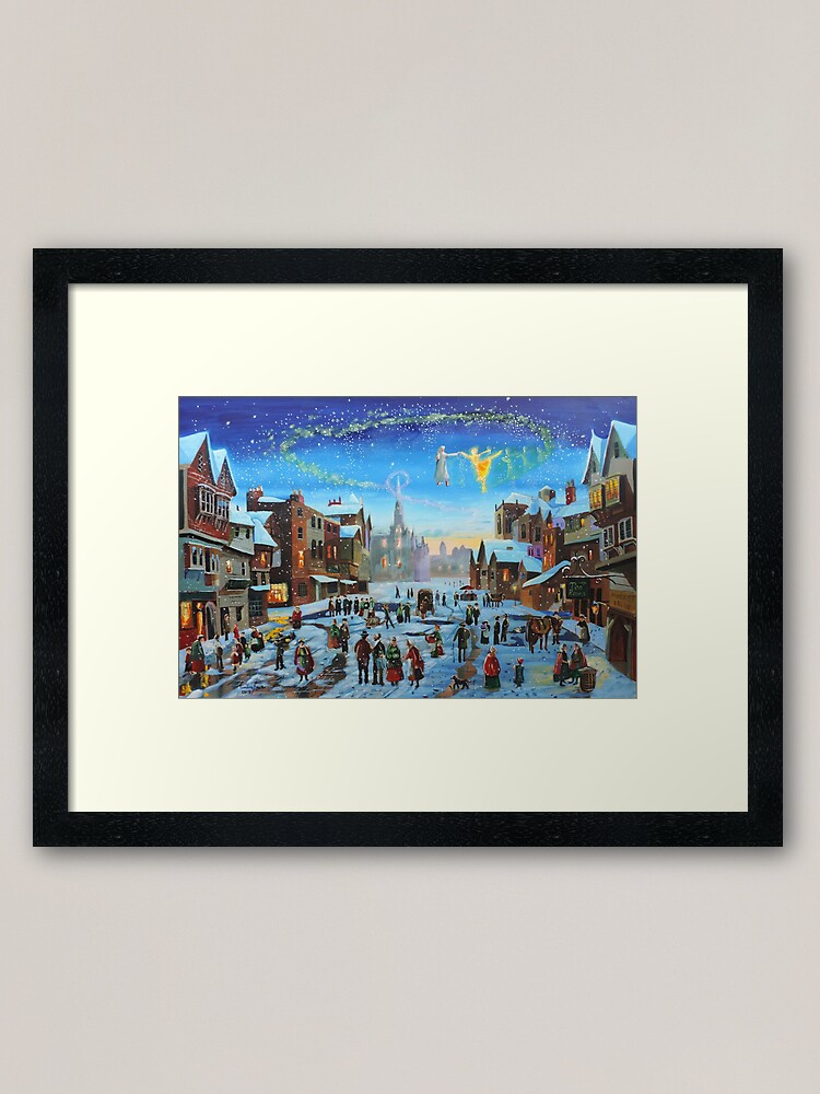 Alternate view of A Christmas Carol Scrooge and the ghost of Christmas past Framed Art Print