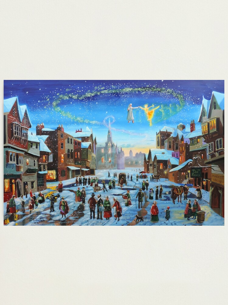 Alternate view of A Christmas Carol Scrooge and the ghost of Christmas past Photographic Print