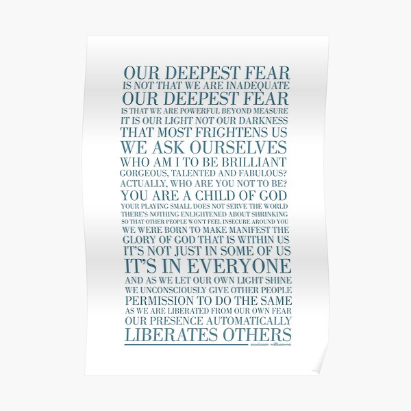 Our deepest fear by Marianne Williamson (Teal) Poster