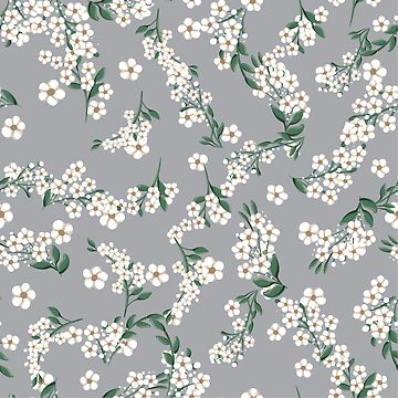 seamless pattern with small white simple flowers by amekamura