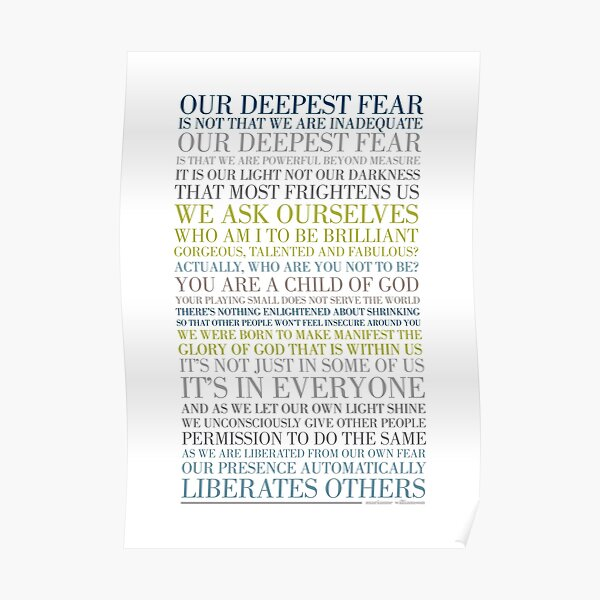 Our deepest fear by Marianne Williamson (Multi-coloured) Poster