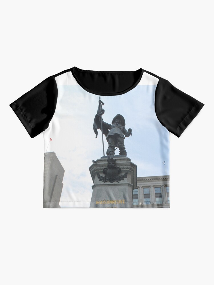Alternate view of 500 Place D'Armes - statue, monument, sculpture, architecture, city, art, landmark, old, liberty, memorial, sky, history, statue of liberty, travel, building, tourism, square, stone, famous, town Chiffon Top