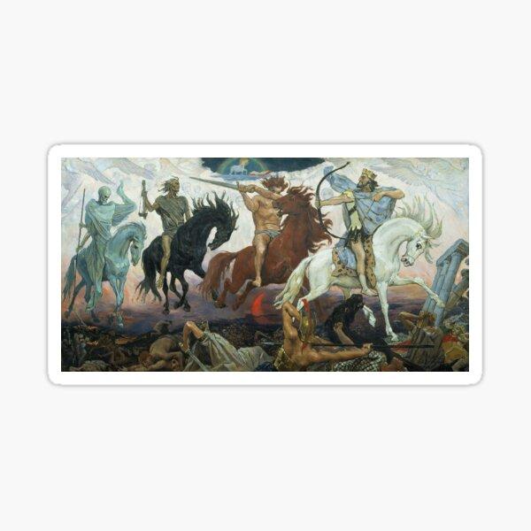 Four Horsemen of the Apocalypse. 1887. Painting by Viktor Vasnetsov.  Sticker