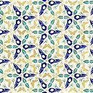 Krähe-Schädel und Schmetterlings-Muster - Blau und Gold von Johanna-Draws