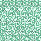 Krähe-Schädel und Schmetterlings-Muster - weiß auf Pastellgrün von Johanna-Draws