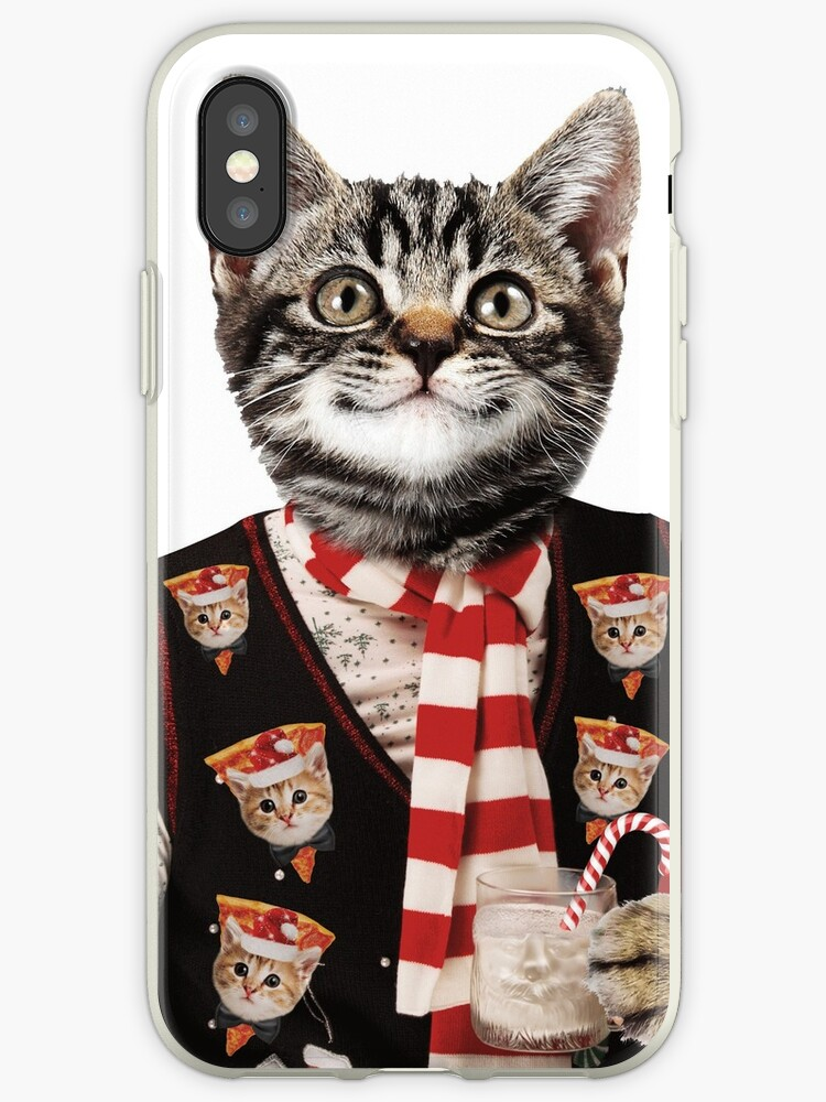 Kitten Christmas Sweater.Hipster Cat Wearing Ugly Christmas Sweater With Pizza Cats On It Iphone Case By Banwa