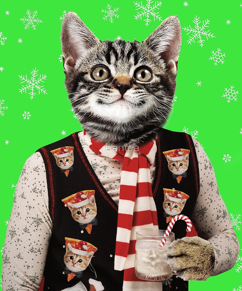 Hipster Cat Wearing Ugly Christmas Sweater With Pizza Cats On It