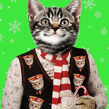 Hipster Cat Wearing Ugly Christmas Sweater With Pizza Cats On It  by banwa