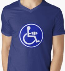 DISABLED JOKE PARKING SIGN HAND Mens V-Neck T-Shirt