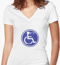 DISABLED WHEELCHAIR BAD LUCK Women's Fitted V-Neck T-Shirt