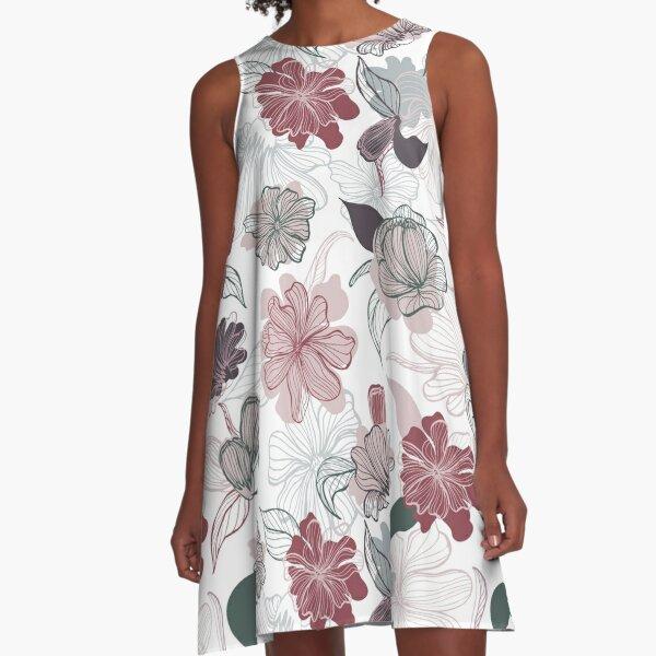Handdrawn Floral A-Line Dress