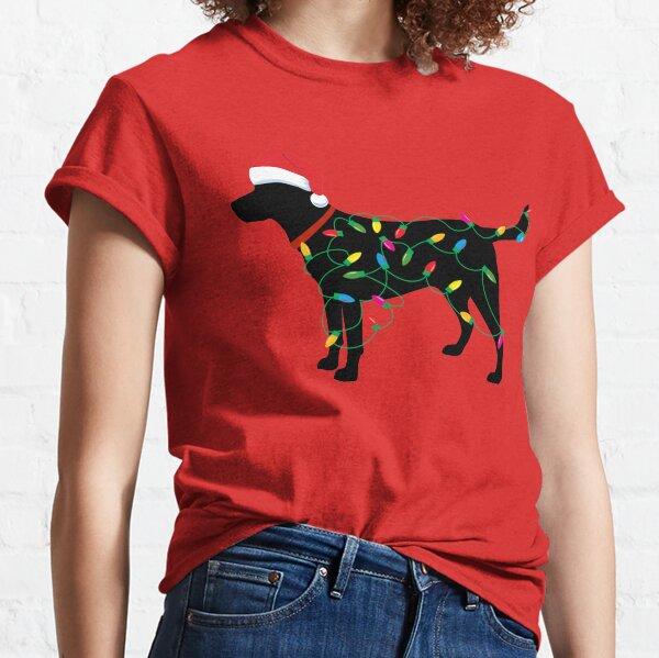 Christmas Labrador Retriever in Santa Hat Christmas Lights Holiday Dog Gift Santa Dog Classic T-Shirt
