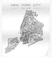 Retro- New York City-minimalistische Karten-Zeichnung Poster