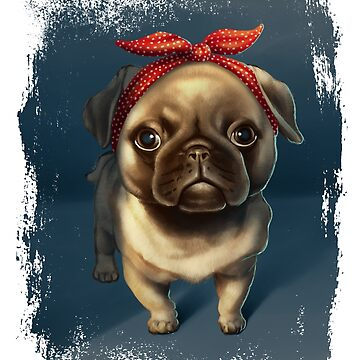 Pug Retro Headband Dog Caricature by yajyolid
