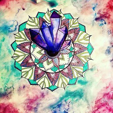 Crystal Mandala Mixed Media Watercolor Painting Drawing by ArtbyMeganBrock