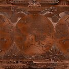 Rose gold and copper antique world map with sail ships by blursbyai