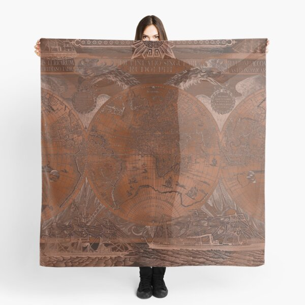 Rose gold and copper antique world map with sail ships Scarf