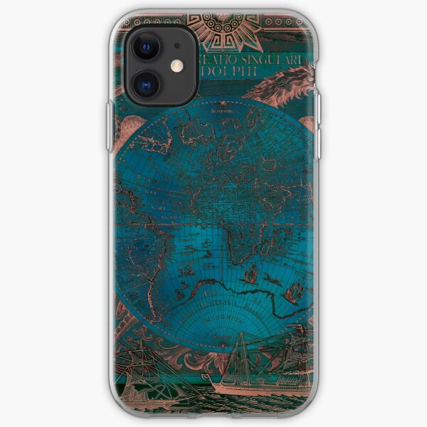 Rose gold and teal antique world map with sail ships iPhone Soft Case