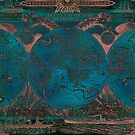 Rose gold and teal antique world map with sail ships by blursbyai